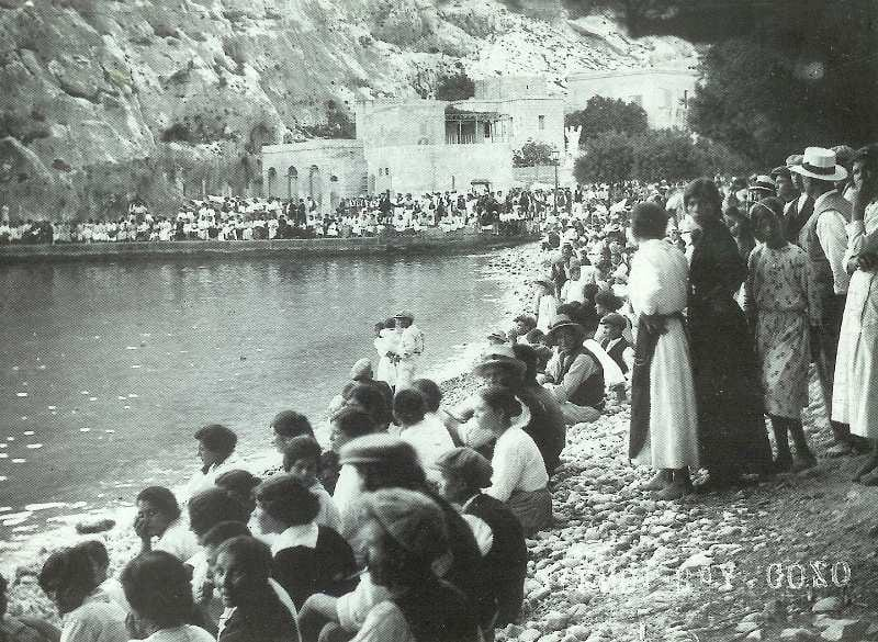 Down by the seaside at Xlendi Bay in Gozo at the turn of the 19th Century.