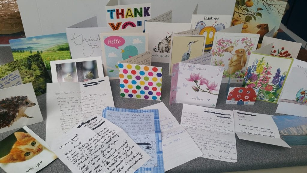 Many of the cards and notes received at WRAS