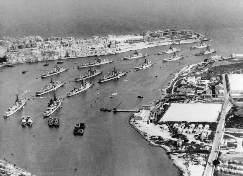 SHIPS OF THE HOME AND MEDITERRANEAN FLEETS ANCHORED AT MALTA. 18 MARCH 1952, AERIAL PHOTOGRAPHS IN GRAND HARBOUR MALTA. THE SHIPS WERE ANCHORED IN GRAND HARBOUR DURING THE VISIT OF THE FIRST SEA LORD AND PRIOR TO LEAVING FOR COMBINED FLEET EXERCISES IN THE MEDITERRANEAN. (A 32094) Some of the Home and Mediterranean Fleet Ships anchored at Malta. Copyright: © IWM. Original Source: http://www.iwm.org.uk/collections/item/object/205163011