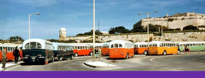 Valletta Bus Terminus and the colour-coded buses, dark blue for Rabat, orange for Zurrieq, yellow for Qormi, Zebbug and Siggiewi. All gone today and the terminus being revamped.