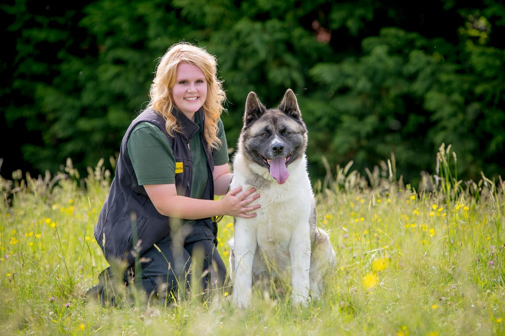 Sarah Fortey, Home From Home co-ordinator with Rosemary the Akita who was on the foster scheme