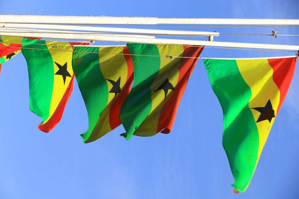 Red gold and green with the central black star The flag of Ghana