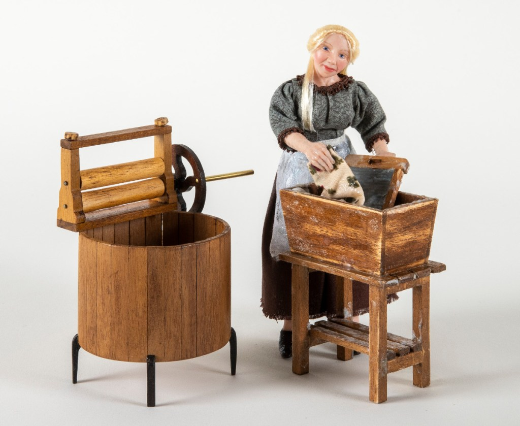Pic A th scale old fashioned washing machine by Masters Miniatures Washerwoman by Enchanted Dolls