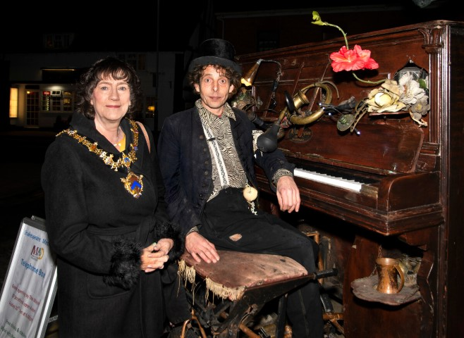 Pic Stratford Mayor Cllr Kate Rolfe with Rimski and his bicycle piano