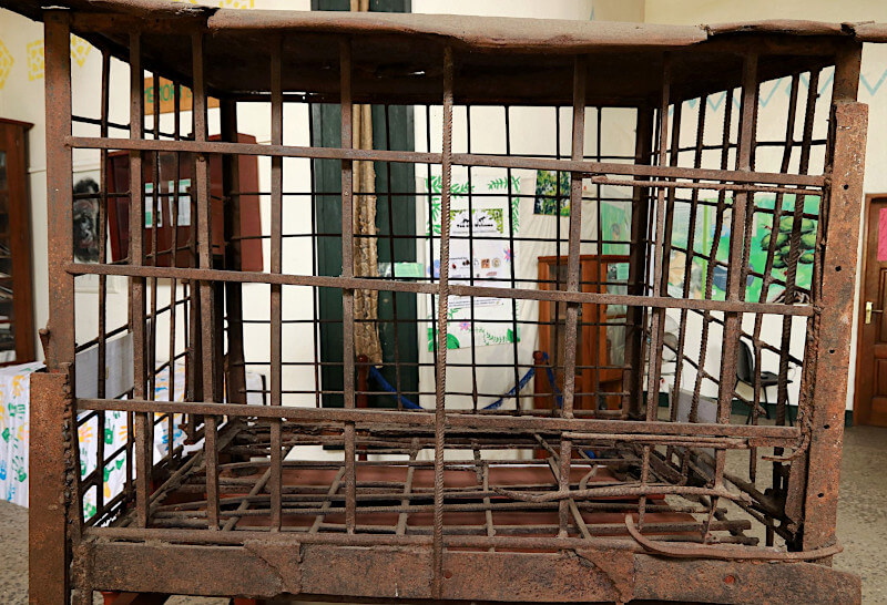 Cage in which Mungo Utah were rescued from