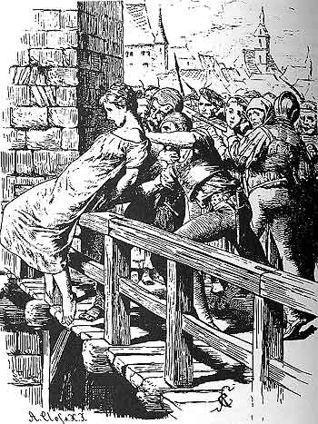 MalDia A condemned witch sentenced by The Inquisitor being pushed off a bridge