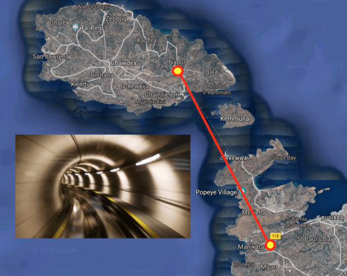 MalDia The proposed route of the Malta Gozo tunnel Project finally on the way at last