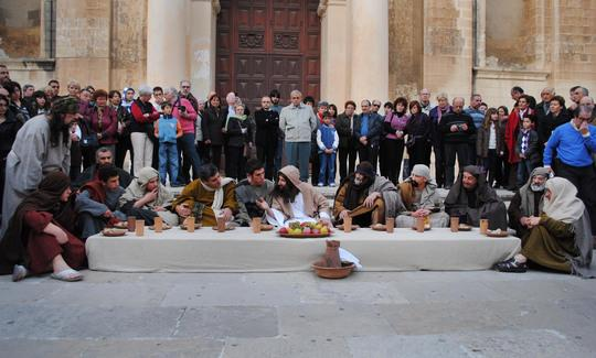 MalDia Live enactment of feet washing ritual and Last Supper display at St Johns Co Cathedral Valletta