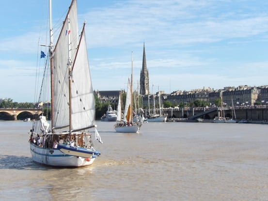 Sailing on the Garonne river in Bordeaux