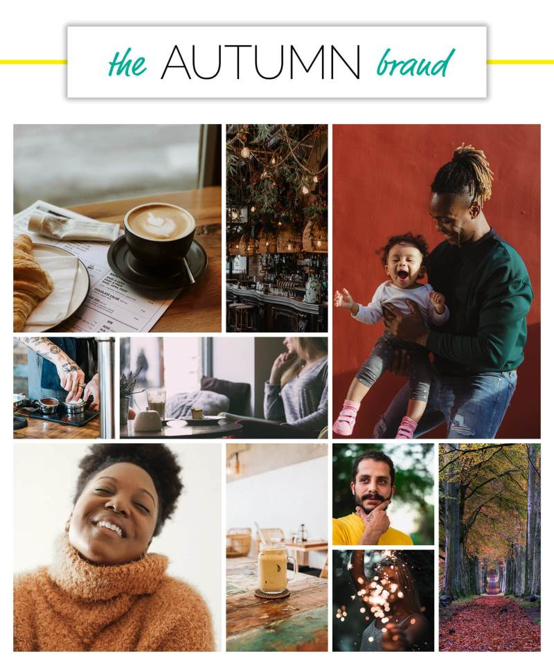 Autumn voice over brand personality season moodboard