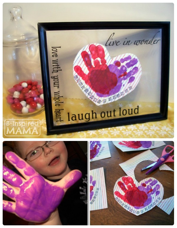 our preschool valentines craft making framed handprint hearts at b inspired mama