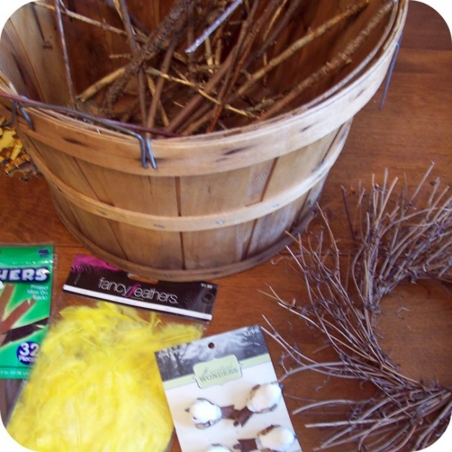 Supplies for the Twig Nest Easter Craft at B-InspiredMama.com