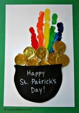 Kids St. Patrick's Day Rainbow Handprint Craft at B-InspiredMama.com