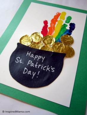 St. Patrick's Day Rainbow Handprint Craft at B-InspiredMama.com