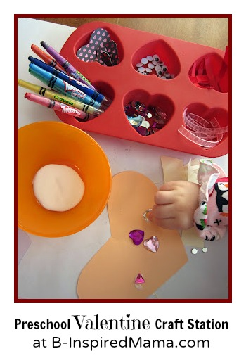 Preschool Valentine Craft Station at B-InspiredMama.com