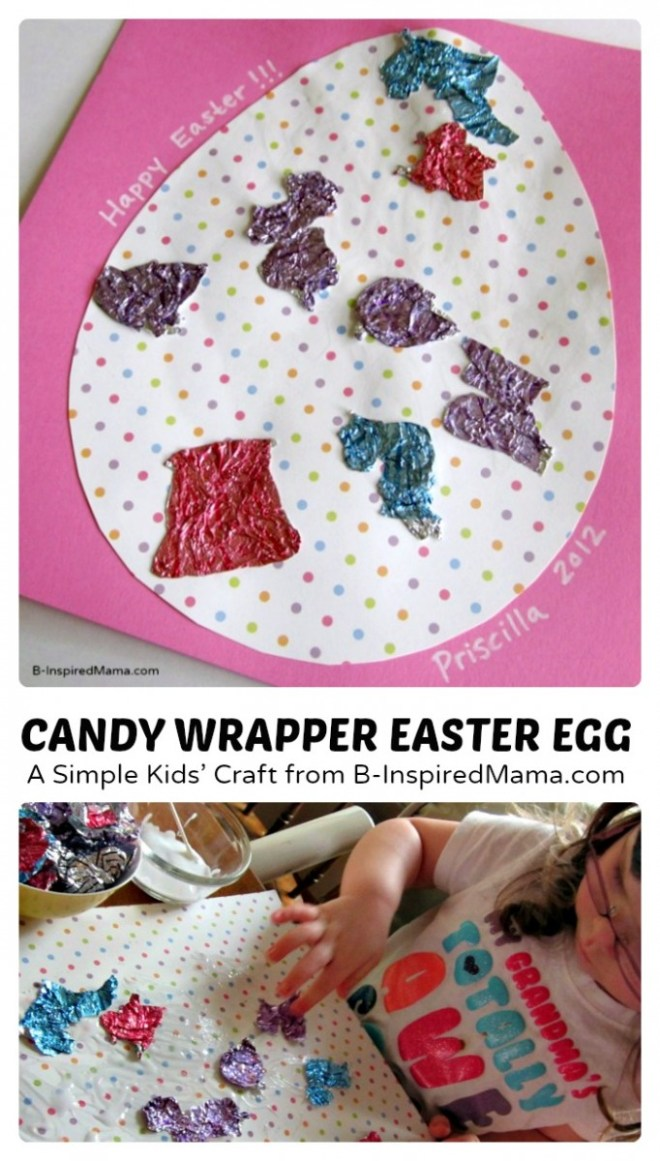 Candy Wrapper Easter Egg Collage Craft at B-inspired Mama