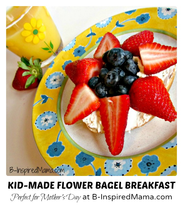 Kid Made Flower Bagel Breakfast for Mother's Day at B-Inspired Mama