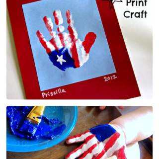 Patriotic Hand Print Flag Craft