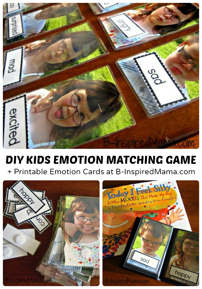 Teach Kids Emotions with a DIY Emotion Matching Game - B-Inspired Mama