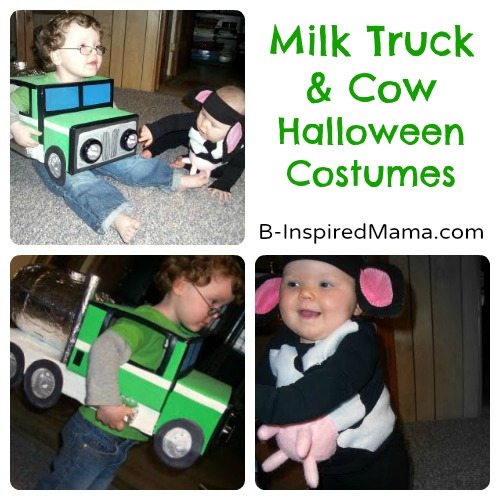 Milk Truck and Cow Handmade Halloween Costumes + MORE Halloween Costume Inspiration at B-Inspired Mama