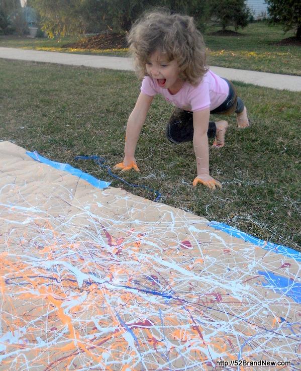 Painting Like Jackson Pollock at 52 Brand New on B-Inspired Mama