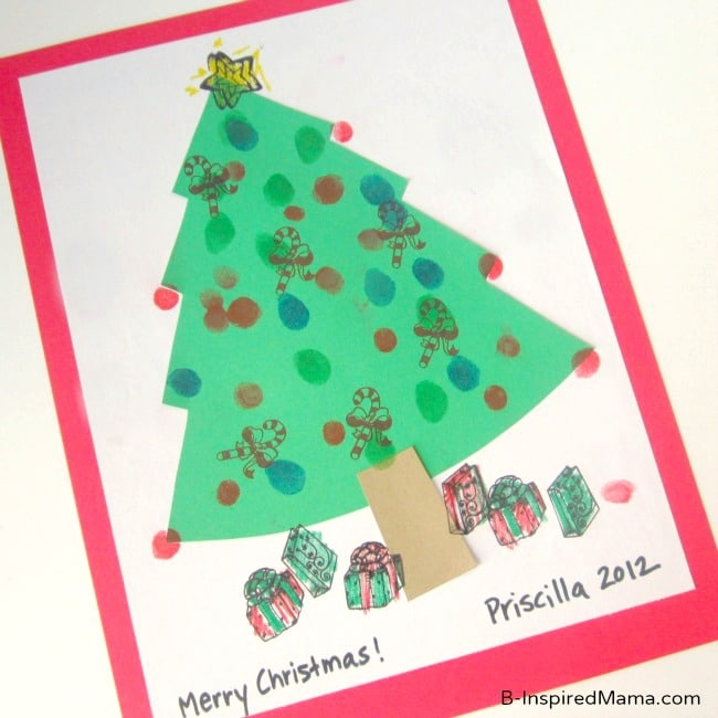Easy Fingerprint Tree Kids Christmas Craft