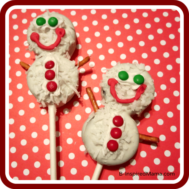 Snowman Cookies Pops Recipe at B-InspiredMama