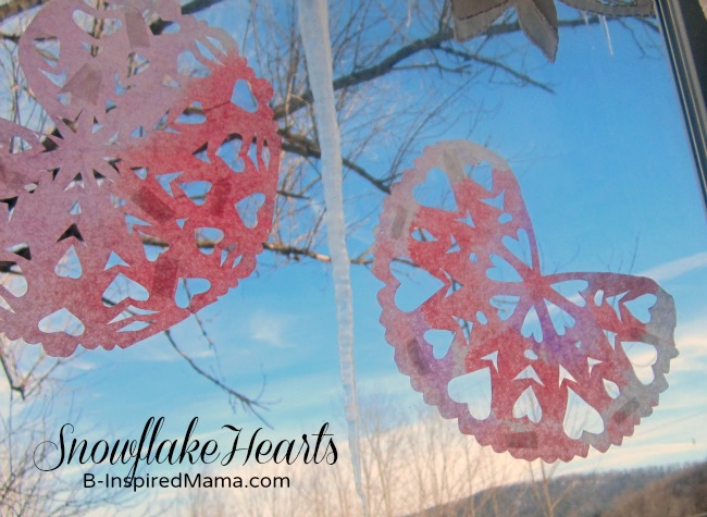 Snowflake Hearts on a Winter Window from B-InspiredMama.com