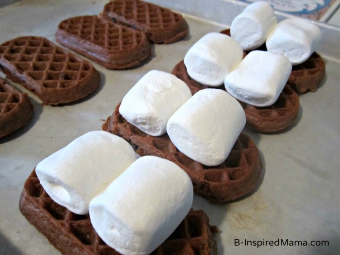 Making Double Chocolate Waffle S'Mores with Eggo at B-InspiredMama.com