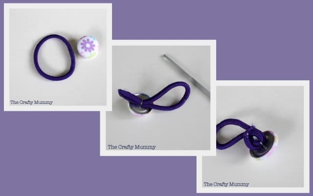 Steps for Covered Button Hair Tie Mama Craft from The Crafty Mummy at B-InspiredMama.com