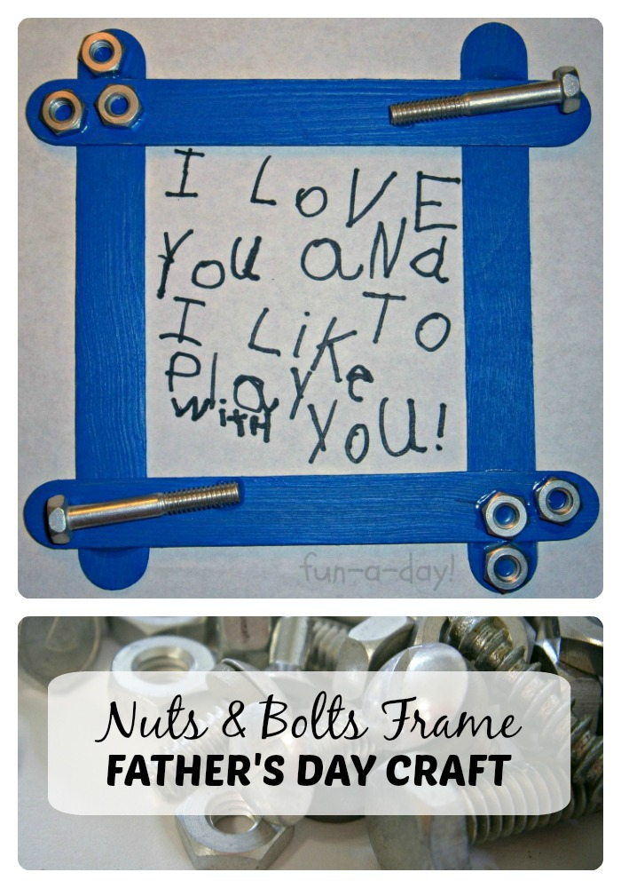 A Nuts and Bolts Frame Father's Day Craft for Kids at B-Inspired Mama