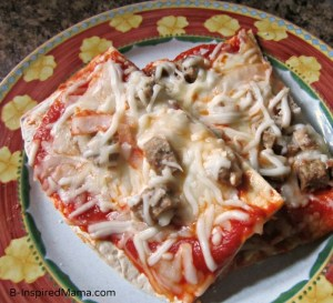 Sausage Cheese Kids Pizza on Flatout Flatbread at B-InspiredMama.com