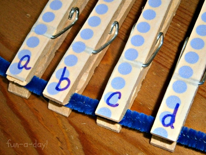 ABC Learning with Clothespin Games for Kids at B-InspiredMama.com