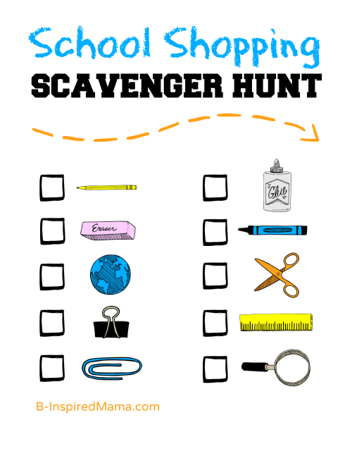 A Back to School Shopping Scavenger Hunt Thumbnail at B-InspiredMama.com