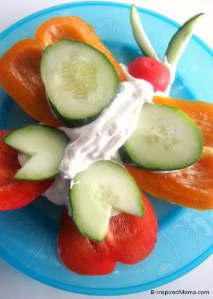 A Fun and Healthy Vegetable Butterfly Snack for the Kids at B-InspiredMama.com