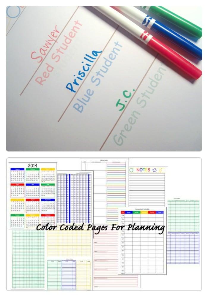 Color Coded Homeschool Planning at B-InspiredMama.com