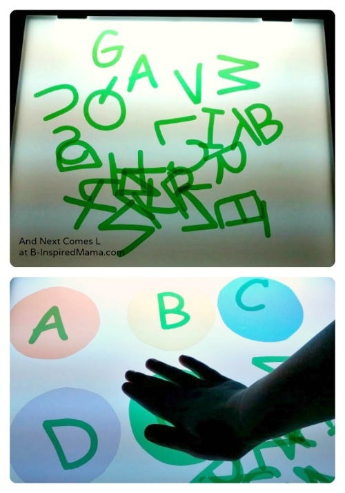 Exploring Upper Case Letters on the Kids Light Box from And Next Comes L at B-Inspired Mama