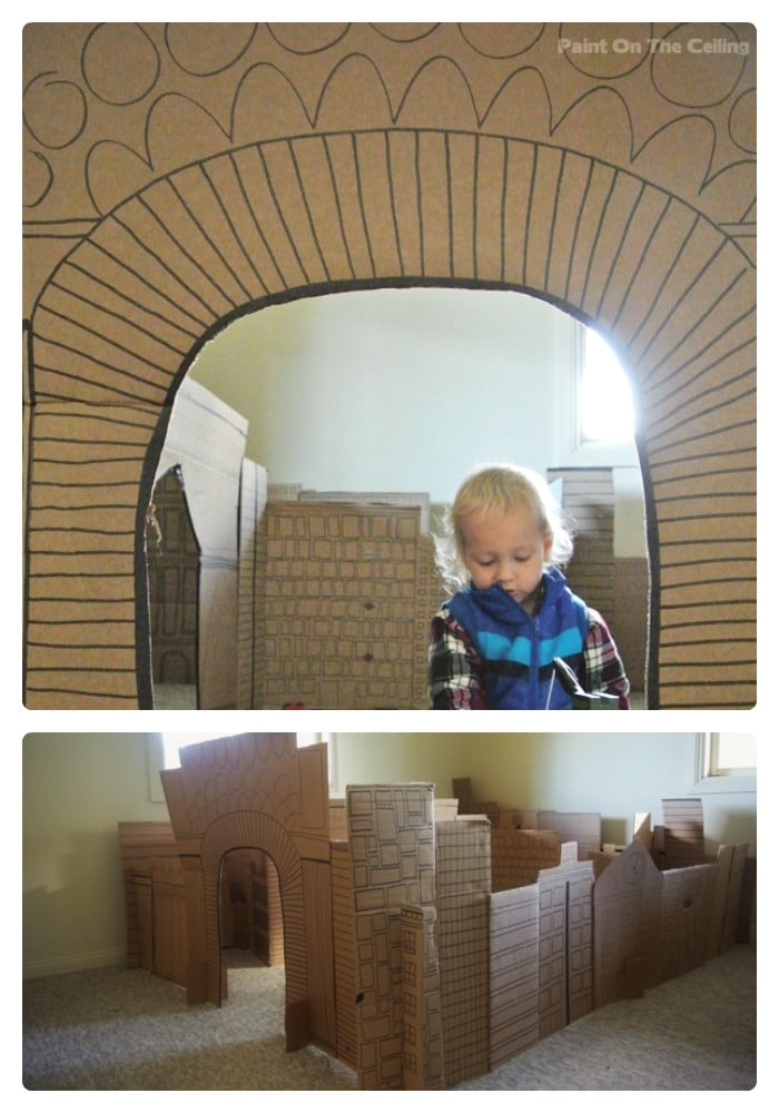 Indoor Cardboard City Play Space from Paint On The Ceiling at B-InspiredMama.com