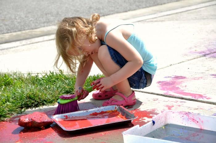 Messy Big Art Broom Painting at B-Inspired Mama