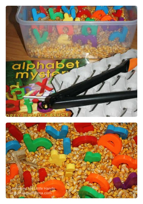 Alphabet Corn Bin Sensory Play [Contributed by Little Bins for Little Hands]