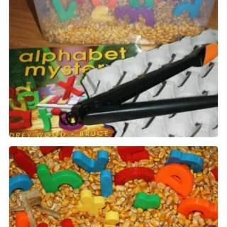 Alphabet Corn Bin Sensory Play