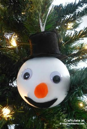Christmas Ornaments for Kids to Make - Snowman - B-Inspired Mama