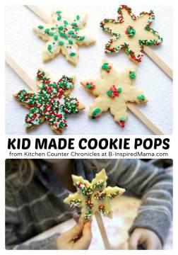 Kids Holiday Sugar Cookie Pops - at B-Inspired Mama