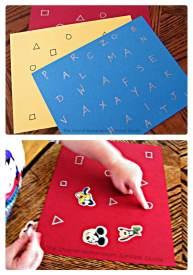 Learning Letters and Shapes with a Simple Sticker Activity - From The Stay-At-Home-Mom Survival Guide at B-Inspired Mama