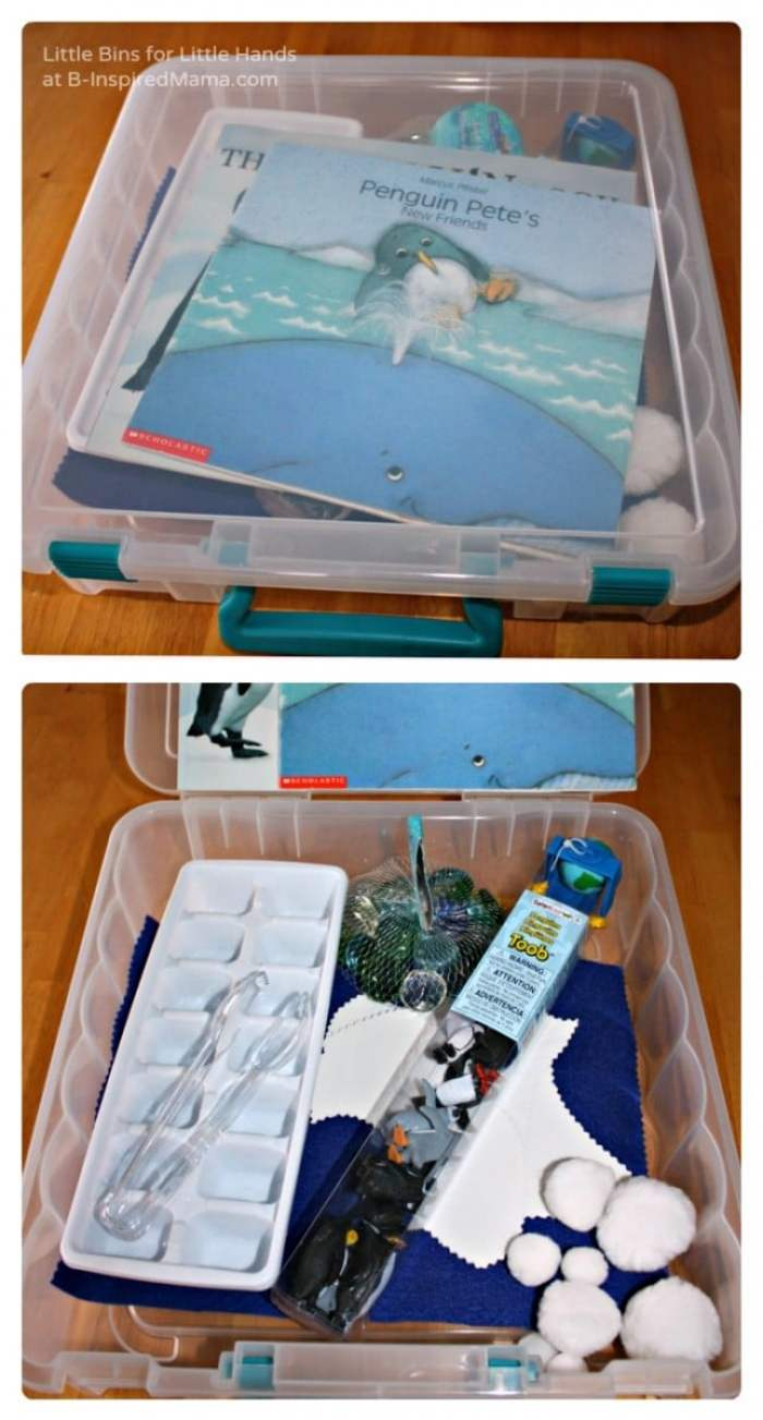Penguin Themed - Easy Sensory Bin Gift Ideas at B-Inspired Mama