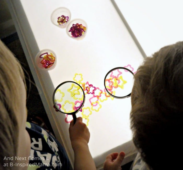 Using Magnifying Glasses for Learning Shapes on the Light Table - B-Inspired Mama
