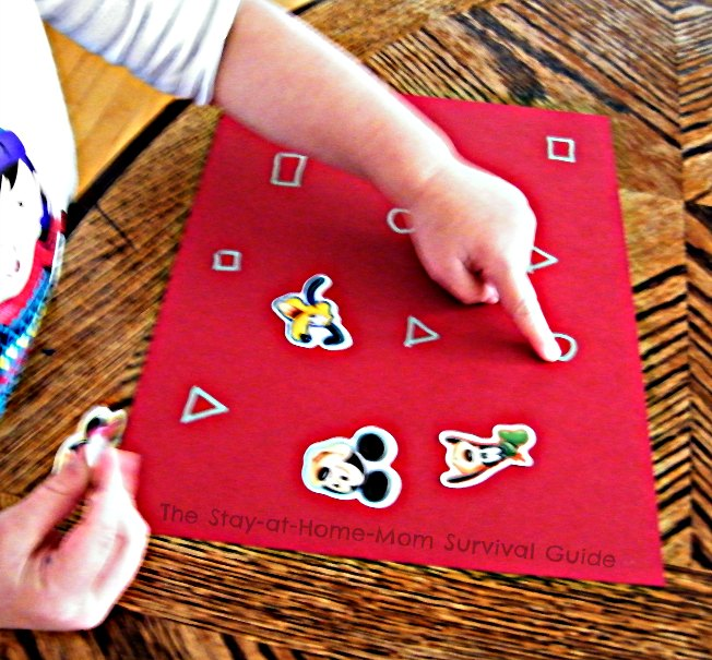 Learning Letters and Shapes with Stickers [Contributed by The Stay-At-Home-Mom Survival Guide]