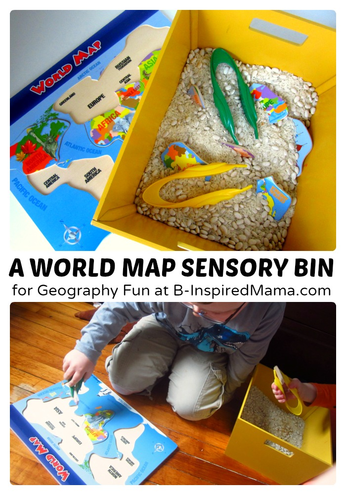 Geography for Kids – A World Puzzle Sensory Bin