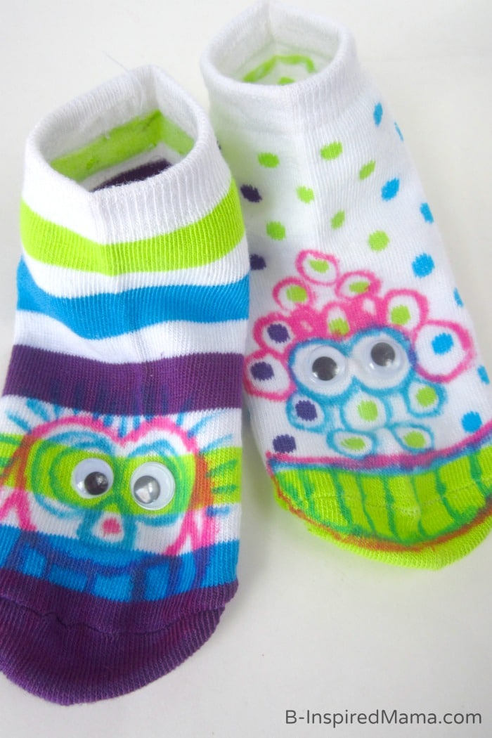 Silly Socks - A Kids Monster Craft - Sponsored by Dollar Tree at B-Inspired Mama