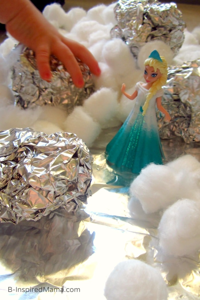 Tin Foil Icebergs - Ice and Snow Indoor Kids Play with Disney FROZEN at B-Inspired Mama #FrozenFun #shop #cbias